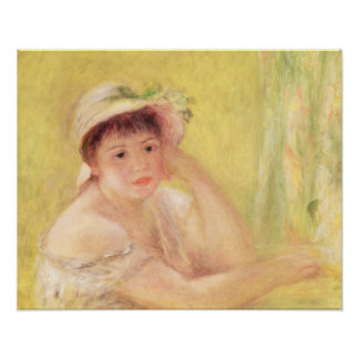 Pedro una mujer de Renoir el | en un gorra de Póster
