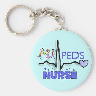 PEDS NURSE QRS Design T-Shirts & Gifts Basic Round Button Keychain