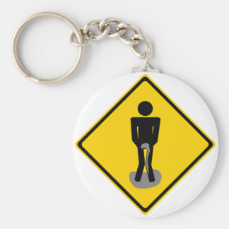 Pee Pants Road Sign Basic Round Button Keychain