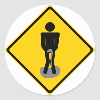Pee Pants Road Sign Classic Round Sticker