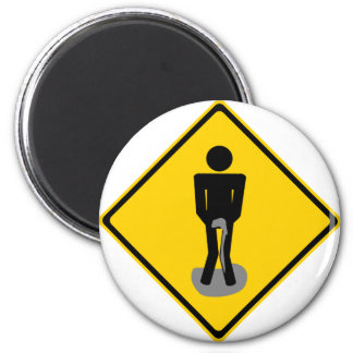 Pee Pants Road Sign 2 Inch Round Magnet