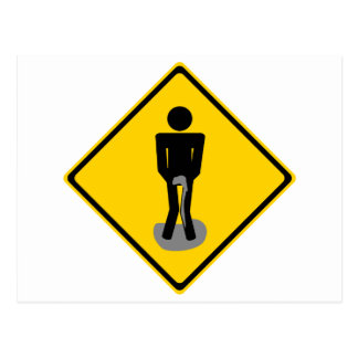Pee Pants Road Sign Postcard