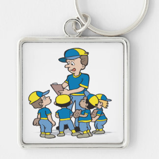 Pee Wee Baseball Silver-Colored Square Keychain