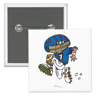 pee wee football kid running with football 2 inch square button