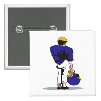pee wee kids football player blue 2 inch square button