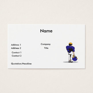 pee wee kids football player blue business card