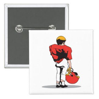 pee wee kids football player red 2 inch square button