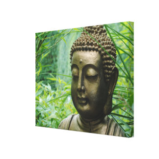 Peeaceful Buddha Statue in a Leafy Green Forest Canvas Print