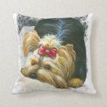 Peek a Bo Yorkie Yorkshire terrier Portrait Pillow