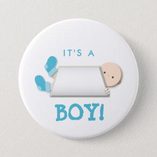 Peek-a-Boo Blue Baby Booties Cartoon Button
