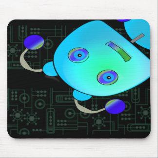 Peek A Boo Blue Robot Mouse Pad