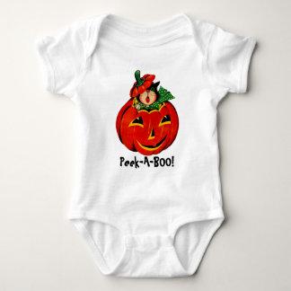Peek-A-BOO! Cat and Pumpkin Baby Bodysuit