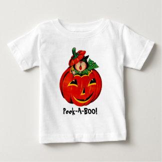 Peek-A-BOO! Cat and Pumpkin Baby T-Shirt