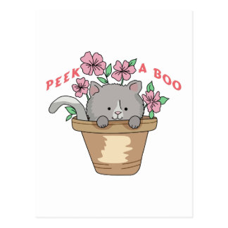 PEEK A BOO CAT POSTCARD