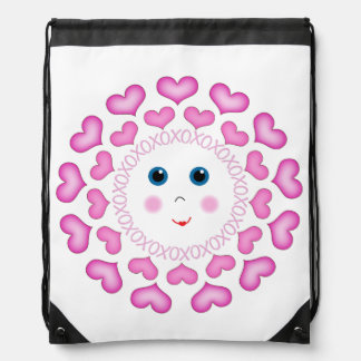 Peek-a-Boo Face Hearts - Drawstring Backpack