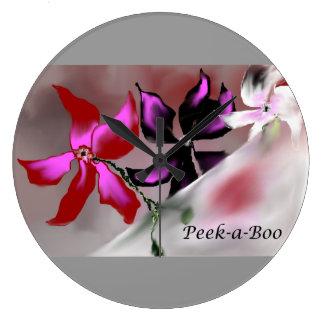 Peek-a-Boo Floral Design Wall Clock