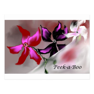 Peek-a-Boo Floral Design Postcard