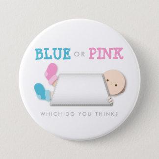 Peek-a-Boo Gender Reveal Baby Booties Cartoon Button