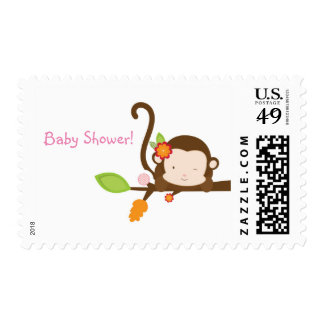 Peek A Boo Girl Monkey Jungle Safari Stamp Postage
