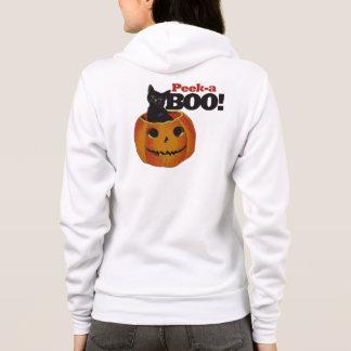 Peek a boo halloween black cat hoodie
