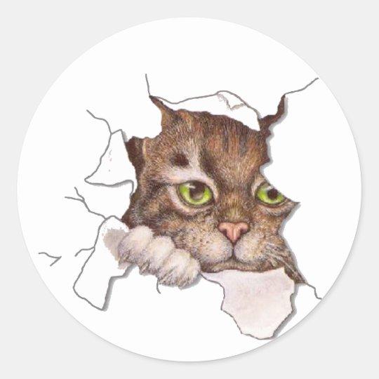 Peek A Boo Kitty 2 Classic Round Sticker