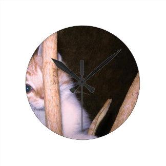 peek a boo kitty round wall clock