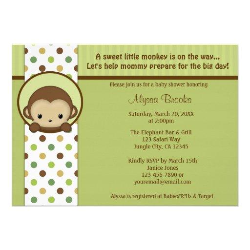 monkey baby shower invitation mppv4 5 x 7 invitation card z