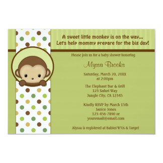 Peek-a-Boo Mod Monkey Baby Shower invitation MPPv4