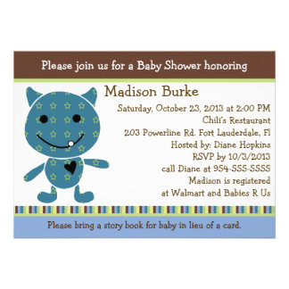 Peek a Boo Monster Baby Shower Invitation