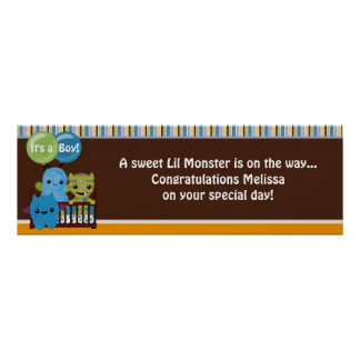Peek a Boo MONSTERS Baby Shower Banner PABC Poster