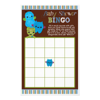 Peek a Boo Monsters Baby Shower Game BINGO Cards