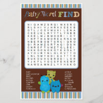 Peek a Boo Monsters Baby Shower Game Word Find
