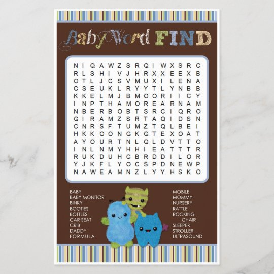 Peek A Boo Monsters Baby Shower Game Word Find Zazzlecom