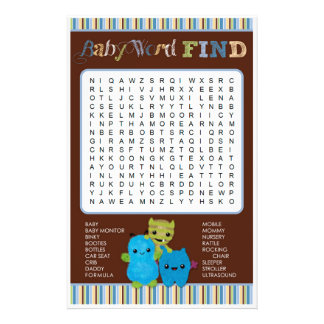 Peek a Boo Monsters Baby Shower Game Word Find Flyer