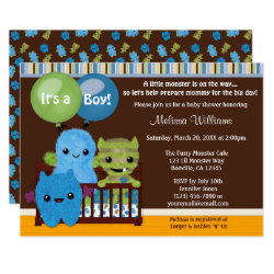 Peek a Boo MONSTERS Baby Shower invitation boy PAB