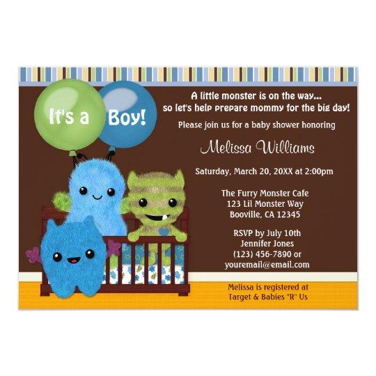 Peek A Boo Monsters Baby Shower Invitation Boy Pab Zazzle Com