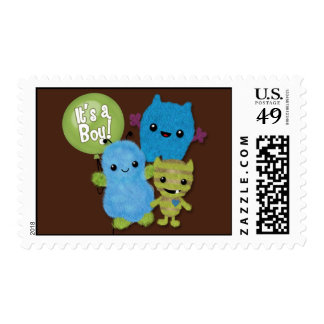 Peek a Boo MONSTERS Baby Shower invitation boy PAB Postage Stamp