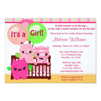 Peek a Boo MONSTERS Girl Baby Shower invitation