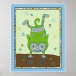Peek a Boo Monsters Green Monster Nursery Wall Art Print