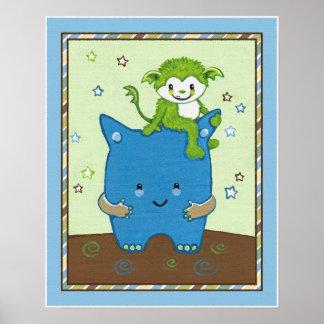 Peek a Boo Monsters Nursery Print