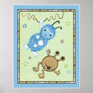 Peek a Boo Monsters Nursery Wall Art Poster