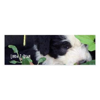 """Peek-a-Boo"" - Old English Sheepdog puppies Business Card Template"