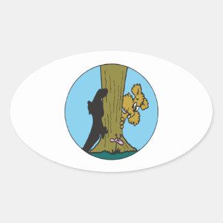 Peek A Boo Oval Sticker