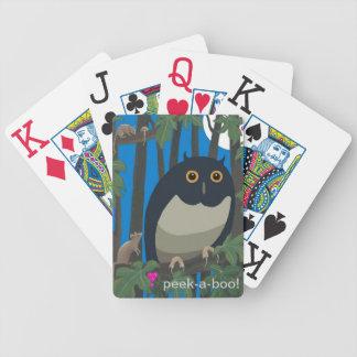 """peek-a-boo"" owl playing cards"