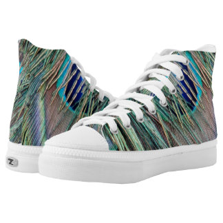 Peek a Boo Peacock Feathers Printed Shoes