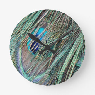 Peek a Boo Peacock Feathers Round Clock