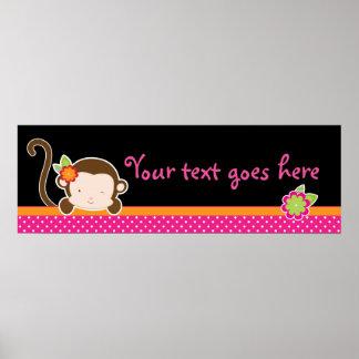 Peek A Boo Pink Girl Monkey Safari Jungle Banner Poster