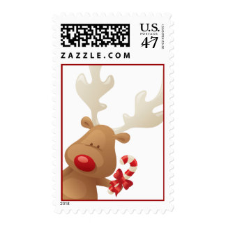 Peek a Boo Reindeer Christmas Holiday Postage