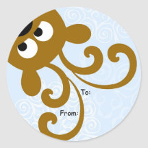 Peek a Boo Reindeer Christmas Tag, To: From: Round Stickers