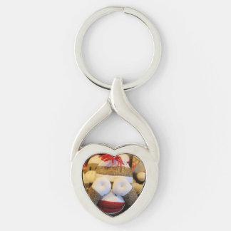Peek-a-boo Sock Monkey Keychain